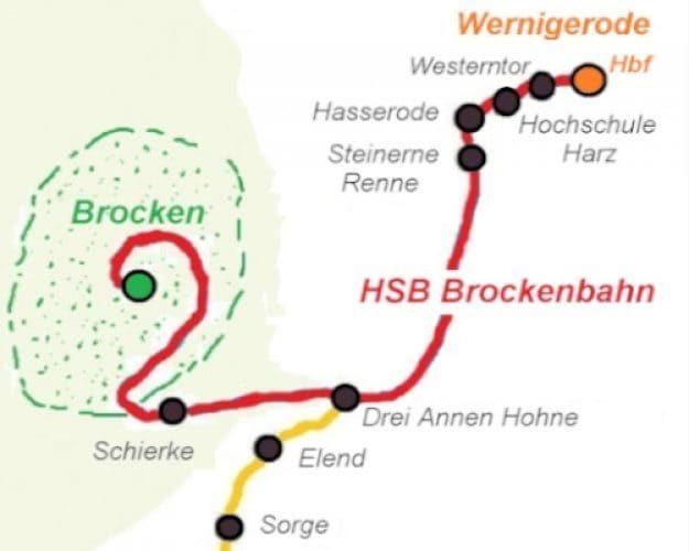 Faust Brocken HSB Strecke Karte